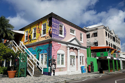 Colorful Pompey Museum on Bay St., Nassau, Bahamas.