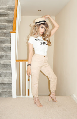 Femme Luxe Stone Cargo Slim Fit Trouser in model Sunny.