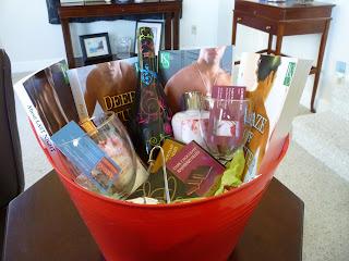 romance novels, gift basket