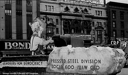 Huge anvil and hammer for Uncle Sam on Labor Day 1942 in Detroit, Michigan
