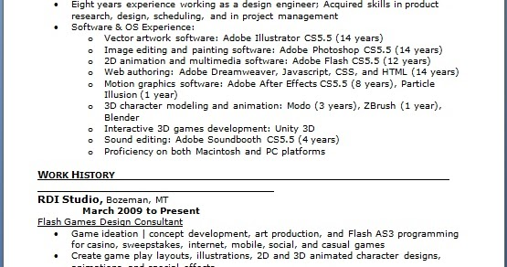 Flash Games Design Consultant Sample Resume Format in Word Free Download