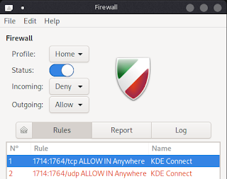 GUFW, enable port for kde connect