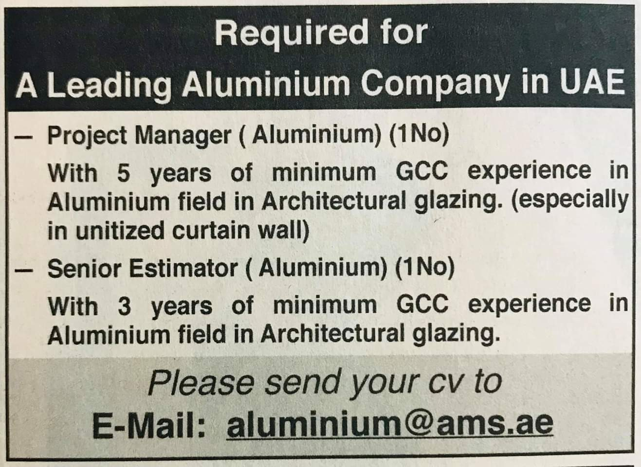 Required for A Leading Aluminum Company in UAE Local Hiring Jobs