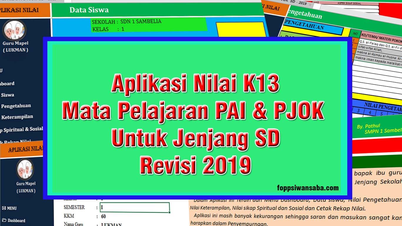 Aplikasi Nilai K13 Mata Pelajaran Pai Dan Pjok Jenjang Sd Revisi 2019 Foppsi Wanasaba
