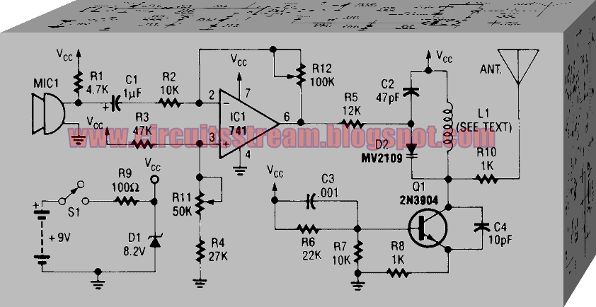 Simple FM transmitter Microphone Circuit Diagram