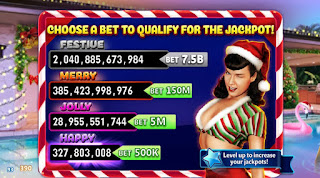 Choose A Bet screenshot of Bettie Page Holiday Splash game at Hit It Rich! Slots