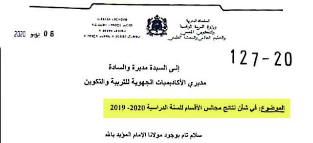 مراسلة وزارية في شأن نتائج مجالس الاقسام للسنة الدراسية 2019-2020