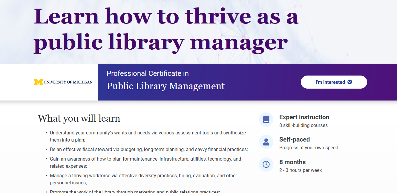 Public Library Management: Online Course