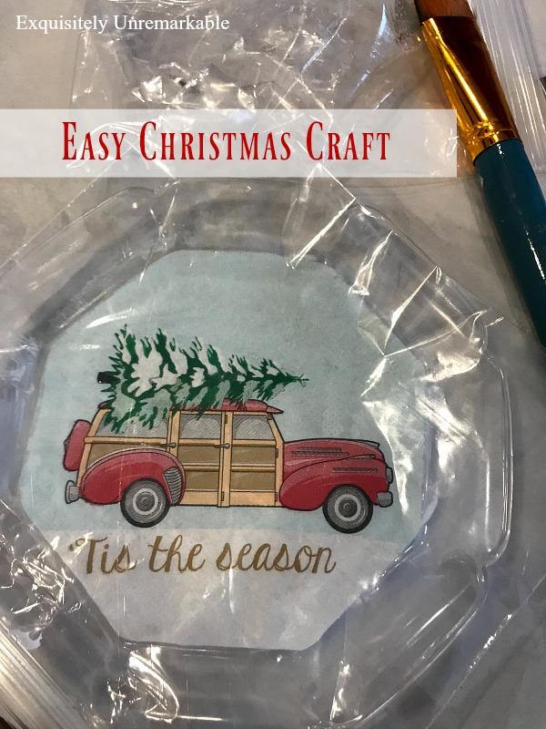 Easy Christmas Craft Text over tis the season napkin on glass plate