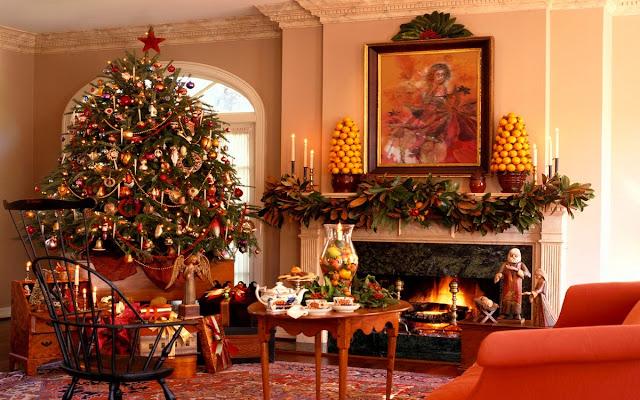 decoracion navidad chimenea, decoracion navideña