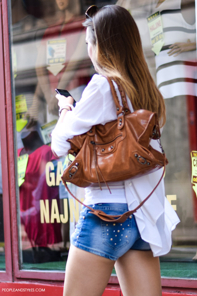 Jeans short and white boyfriend shirt street style in Zagreb, summer fashion, June 2015. What to wear to work in summer