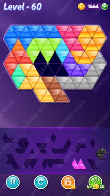 Block! Triangle Puzzle Champion Level 60 Solution, Cheats, Walkthrough for Android, iPhone, iPad and iPod