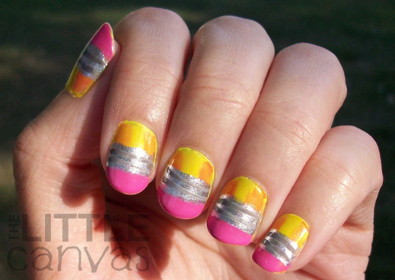 Back to School Pencil Nail Art - The Little Canvas