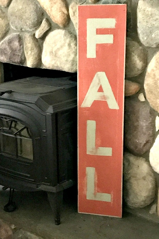 Reclaimed wood rustic vertical fall sign