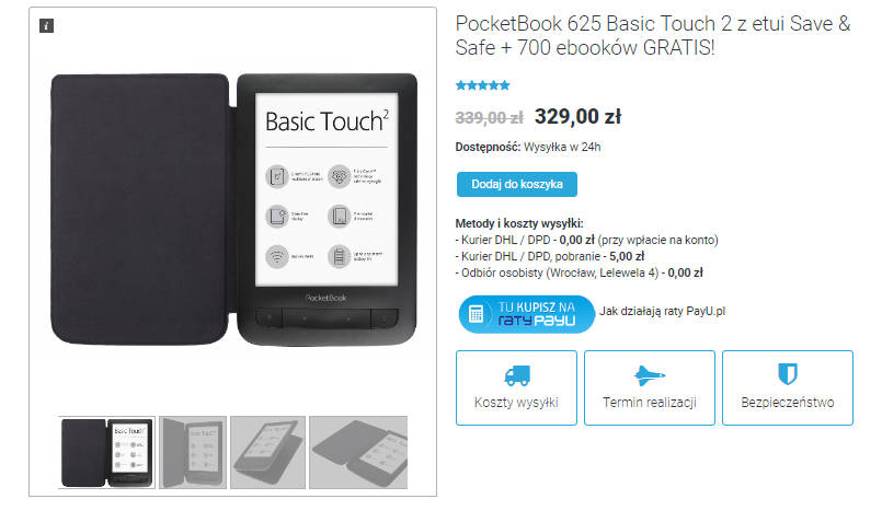 PocketBook Basic Touch 2 Safe & Safe – oferta czytnika w sklepie czytio.pl
