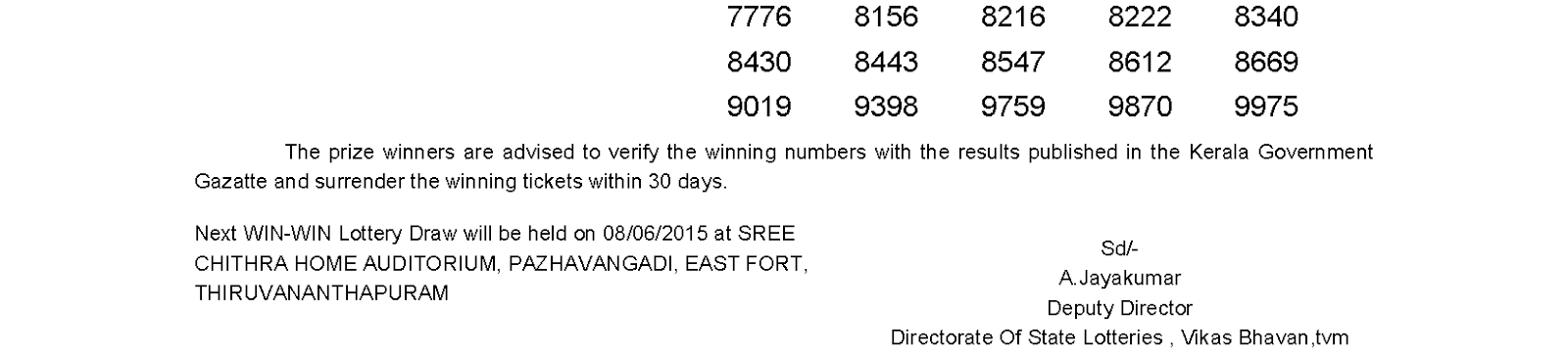 WIN WIN Lottery W 310 Result 1-6-2015
