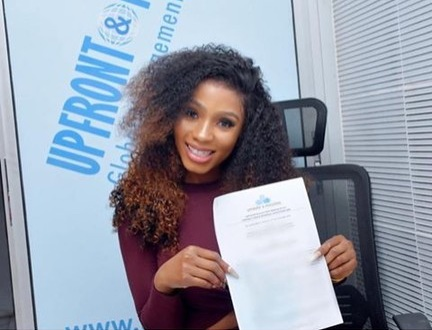 BBNaija's Mercy Signs Management Deal With Paul Okoye (Photos)