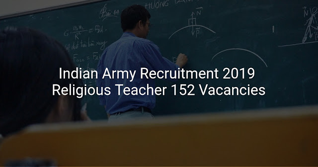Indian Army Religious Teacher Recruitment 2019