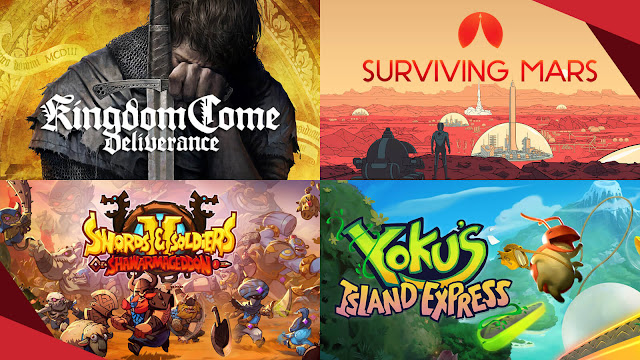 humble monthly bundle games august 2019 pc kingdom come deliverance surviving mars swords and soldiers 2 shawarmageddon yokus island express