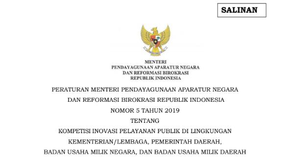 Permenpan RB Nomor 5 Tahun 2019 Peraturan Menteri Pendayagunaan Aparatur Negara Dan Reformasi Birokrasi Republik Indonesia, tomatalikuang.com