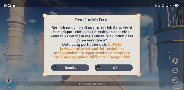 Size Update PC Pra-Unduh 1.5 Genshin Impact Android