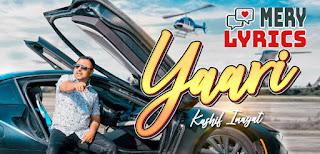 Yaari Lyrics Kashif Inayat
