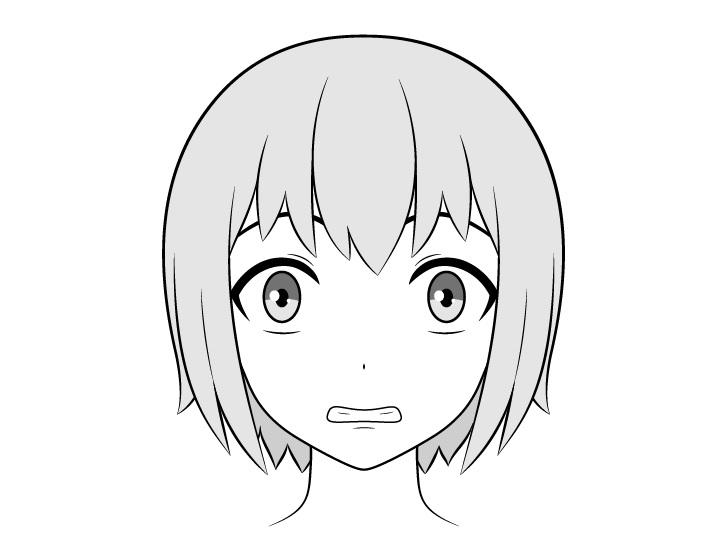Gigi anime menggambar wajah takut