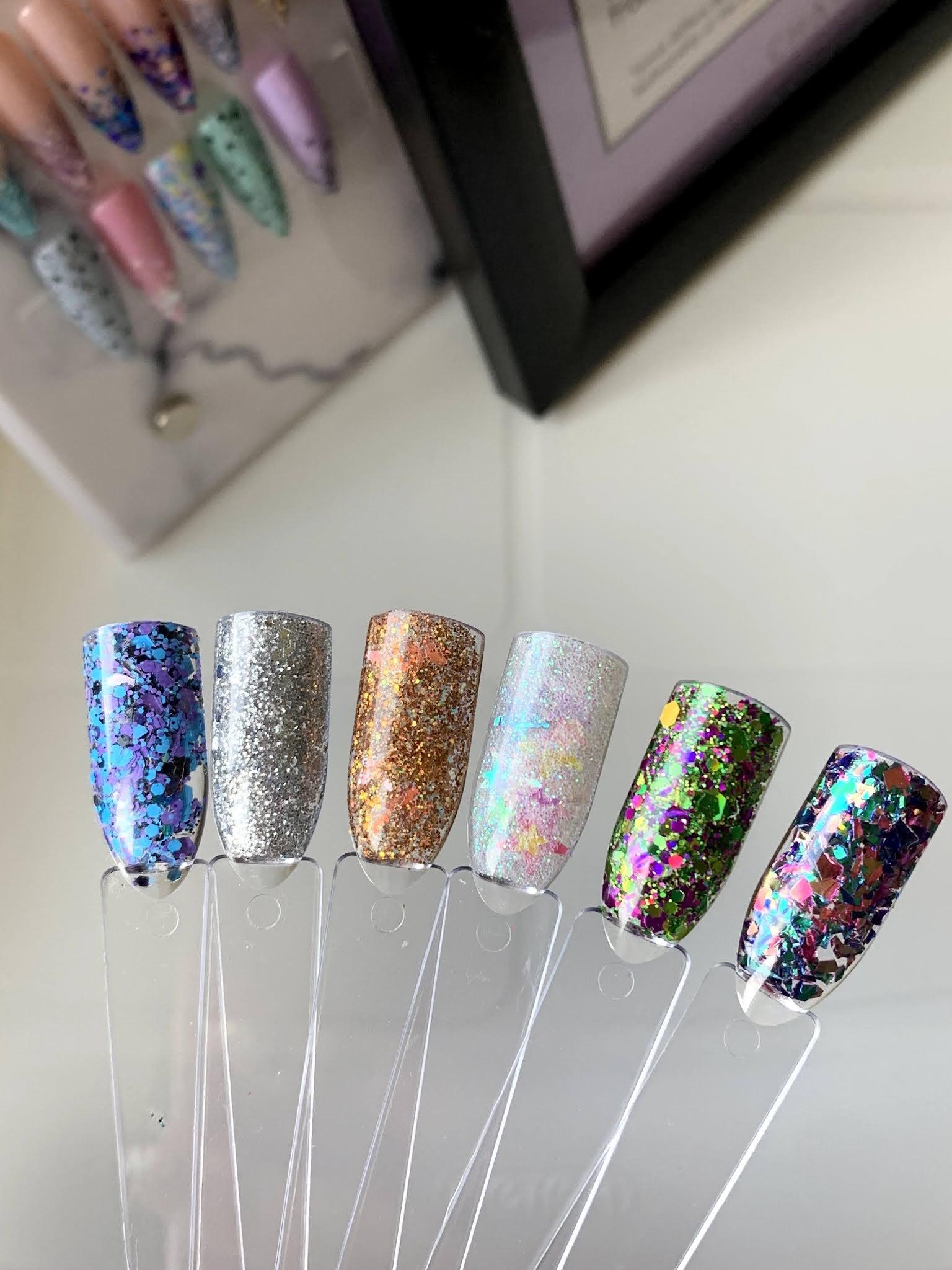 Glitter swatches of SSUK April Box