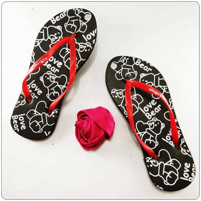 Grosir Sandal Jepit || AB Sandal Love Bear Cewe Simplek