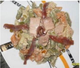 Ensalada de pasta,atún y anchoas