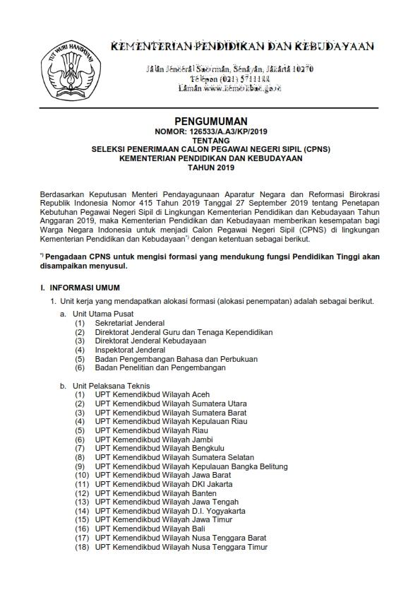 Lowongan Kerja Cpns Kementerian Pendidikan Dan Kebudayaan Ri Tahun 2019 Lowongan Kerja Medan Terbaru Tahun 2021