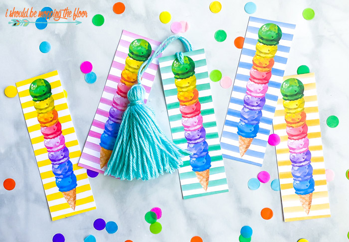 Free Ice Cream Cone Printable Bookmarks