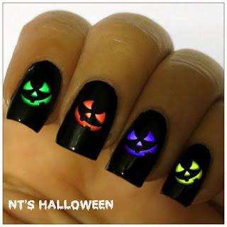 uñas halloween calabazas de colores