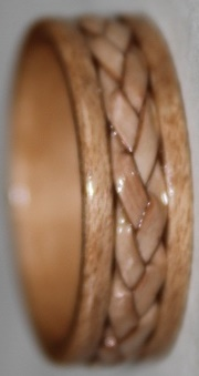 Maple Wood Ring with Braided Birch Bark inlay