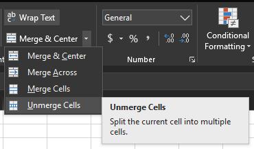 Unmerge Cells