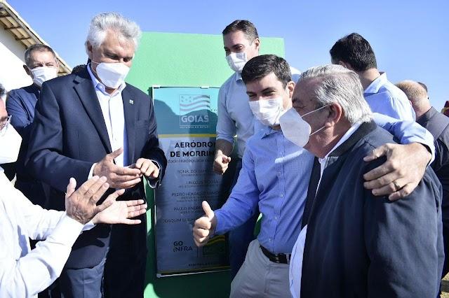 Morrinhos: Governador inaugura readequação de aeródromo; Também na agenda, 36º BPM, 12ª CIBM e GO-213