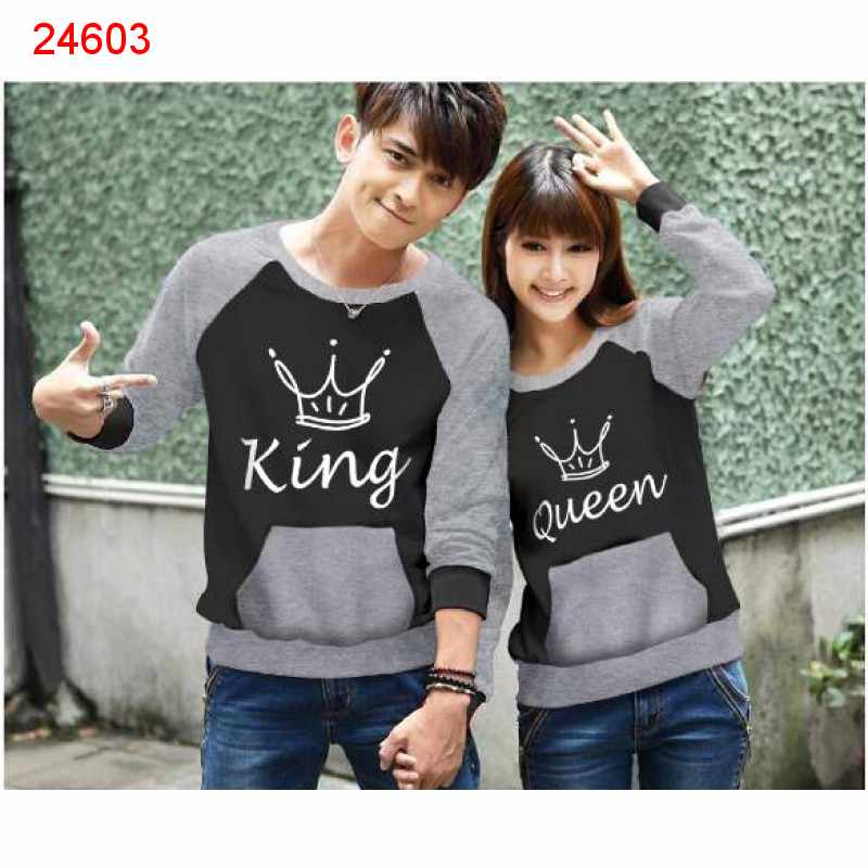 Jual Sweater Couple Sweater King Pocket Black Misty - 24603