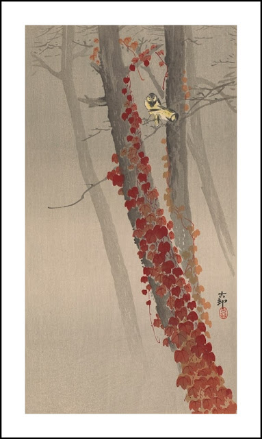 Chickadees perched on ivy-covered tree Koson (Hoson) Ohara (1877-1945)