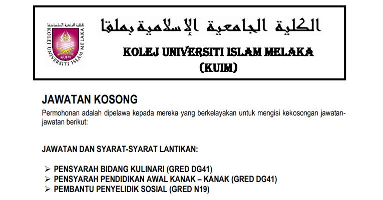Jawatan Kosong di Kolej Universiti Islam Melaka KUIM
