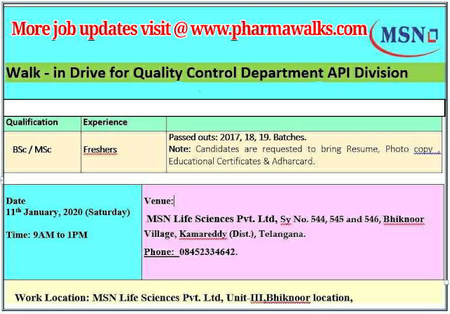 MSN Life Sciences walk-in interview for Freshers - Quality Control on 11th Jan' 2020