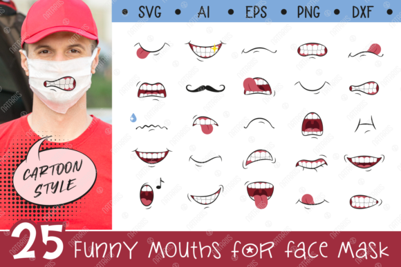 Download Best Svg File 25 Funny Mouths For Medical Face Mask