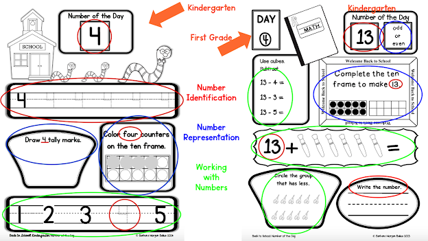 sample pages of kindergarten and first grade number of the day activities
