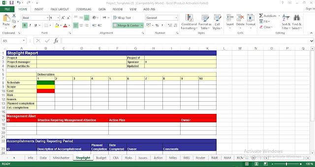 Stoplight Report Template Excel