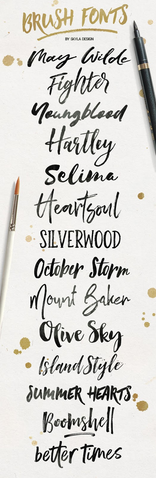 Trendy brush fonts, some free