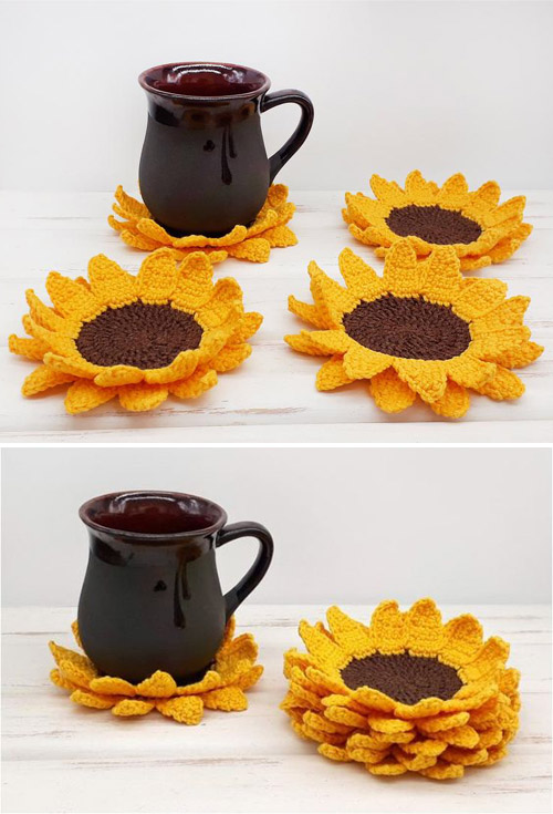 Sunflower Coasters - Crochet Pattern