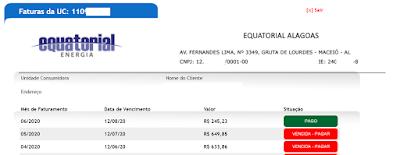 Página com os Pagamentos da Equatorial energia Alagoas
