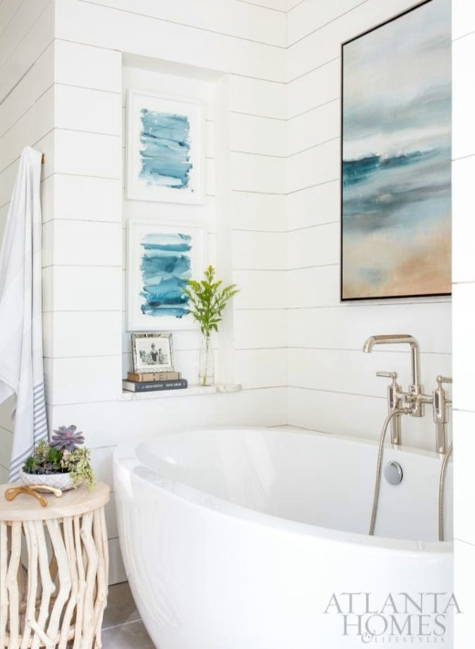 Abstract coastal ocean art wall decor for bathroom