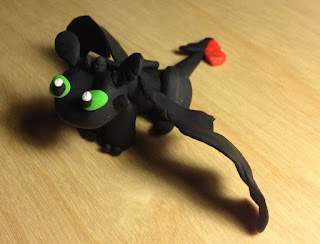Toothless the Dragon. A clay scuplture by Ruby Borden