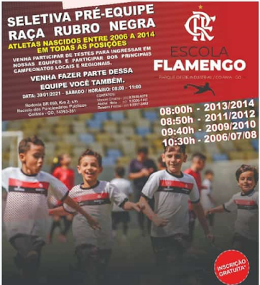 Atenção garotada! Escolinha do Flamengo Goiânia irá promover seletiva para pré equipe gratuita