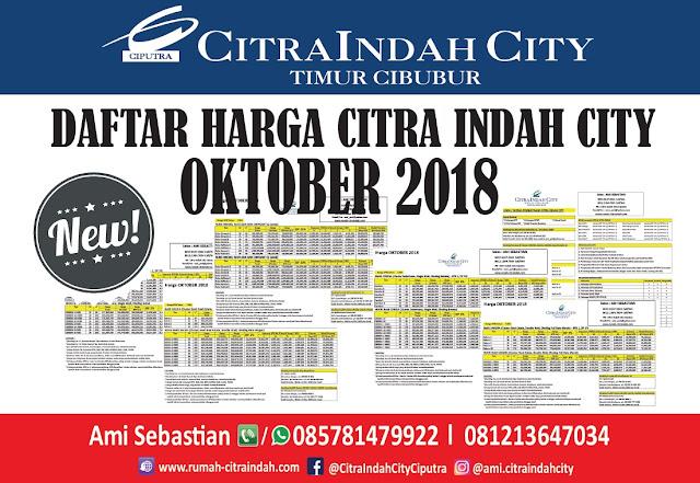 Harga Citra Indah City OKTOBER 2018